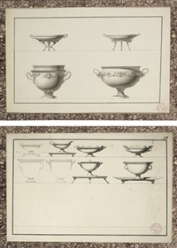 designs for tazzas with cloven hoof stands and designs for elaborate urns (+ another; 2 works) by jean guillaume moitte
