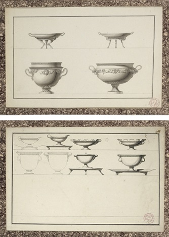 designs for tazzas with cloven hoof stands and designs for elaborate urns another 2 works by jean guillaume moitte