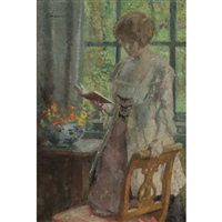 young woman reading by gari melchers