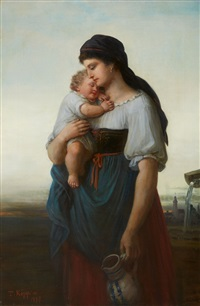 a mother and child by a well by theodor köppen
