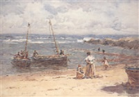 fishing boats landing at a beach by robert weir allen