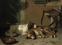 english springer spaniels resting after the hunt by conradyn cunaeus