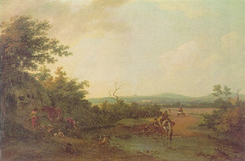 a pastoral scene county sligo with a distant view of cummin house the residence of john ormsby esq by william ashford