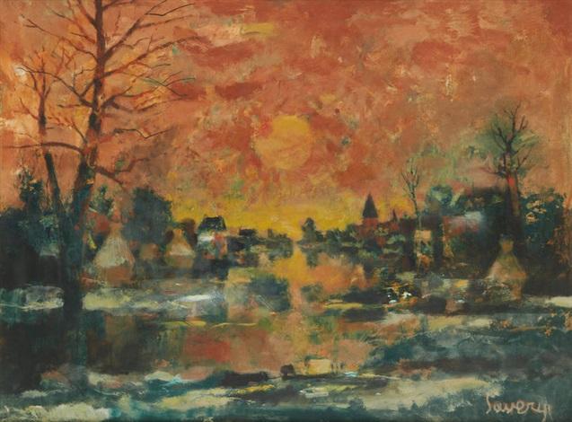 coucher de soleil sur la lys by albert saverys
