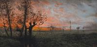 tramonto nella campagna by giacinto bo