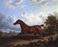 a bay hunter in a landscape by charles towne the younger