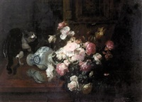 cat overturning a vase of flowers by gustave emile couder