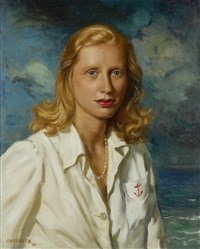 portrait of a woman in a white shirt by george owen wynne apperley