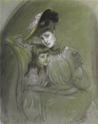 mère et enfant by antonio de la gandara