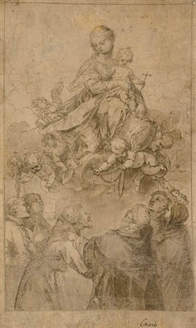 the virgin and child in glory with a putto presenting the rosary to saint dominic accompanied by saints by alonso cano