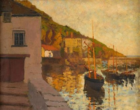 polperro harbor at sunset by lillian amy montague