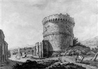 the tomb of cecilia metella on the via appia, rome by simone pomardi