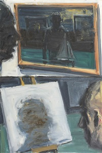 looking at paintings (diptych) by euan macleod