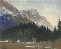 a hut in a pine forest at the foot of a mountain (dbl-sided) by ludwig von senger