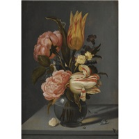 still life with tulips, roses, marigolds and other flowers in a glass vase with a ladybird and a caterpillar, all on a ledge by ambrosius bosschaert the younger