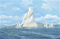 westward and the paddlesteamers glen rosa and marmion on the clyde (illustrated) (+ enterprise, endeavour, yankee and shamrock (v) racing in close quarters; pair) by john j. holmes
