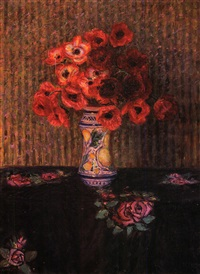 vaso di anemoni su drappo nero con rose rosa by enrico della (lionne) leonessa