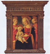 madonna and child with two angels by master of san miniato