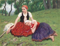 resting girls by oszkár glatz