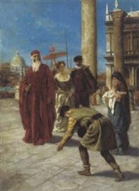 ein patriarch mit gefolge auf der piazzetta in venedig by fedor poppe