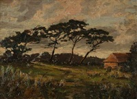 evening on the sussex hills (+ afterglow; pair) by harold goldthwaite