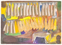 untitled (drying fish and wolf) by janet kigusiuq