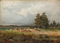 coastal scene at autumn time by berndt adolf lindholm