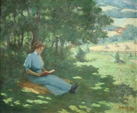 woman reading, a quiet moment by george r. havelka
