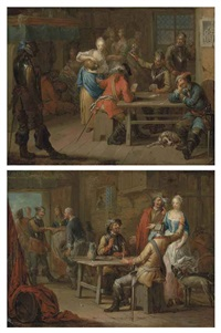 soldiers playing cards in an inn (+ soldiers merrymaking in an inn; pair) by franz christoph janneck