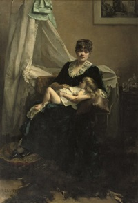 an elegant lady in an interior with sleeping child by fanny laurent fleury