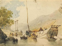 junks and sampans off the a-ma temple, macao by george chinnery