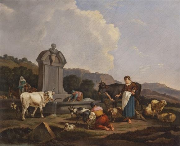contadini e armenti nei pressi di un abbeveratoio by francesco londonio