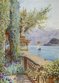 over the balustrade - villa carlotta, tremezzo, lake como by ernest arthur rowe
