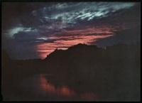algérie: coucher de soleil (+ cascade de la chiffa sur le site de mefrouchel ourit: 2 works) by jules gervais courtellement