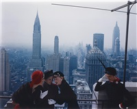 hat fashions, the new york skyline from the roof of the condé nast building on lexington avenue by norman parkinson