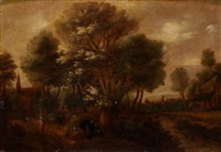 the baptism of the eunuch in an extensive wooded landscape by jan fransz dammeroen and jan christiaensz micker