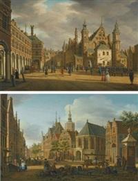 the hague, a view of the binnenhof looking north with the ridderzaal (+ the hague, a view of the groenmarkt near the westeinde looking west; pair) by paulus constantijn la (la fargue) fargue