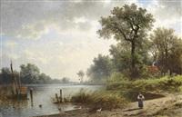 große teichlandschaft mit figuraler staffage by friedrich wilhelm albert dressler