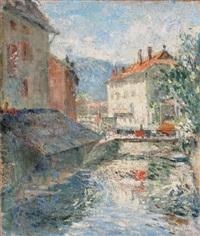 pont sur la rivière by gustave loiseau