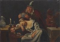 a tavern scene with a man teasing a sleeping woman by christoffel pierson