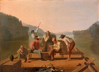 raftsmen playing cards by george caleb bingham