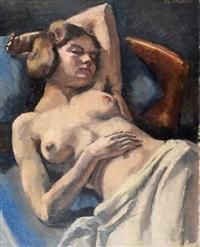 femme assoupie le buste nu by maurice asselin