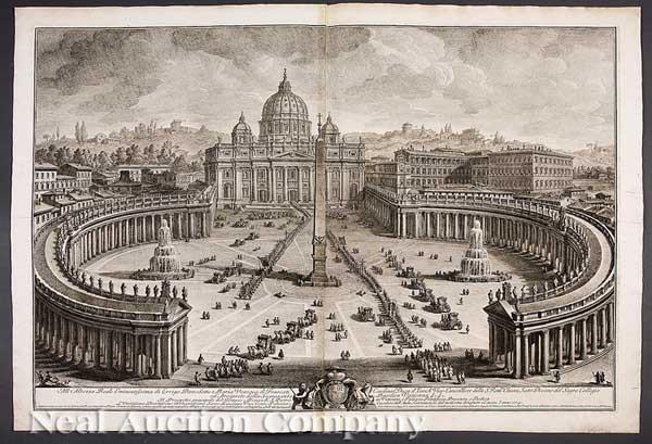 il prospetto principale del tempio e piazza di s pietro linterno della basilica vaticana 2 works by giuseppe vasi