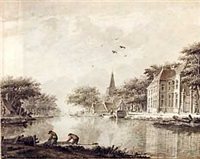 a riverbank with houses and fishermen by theodor (dirk) verryck