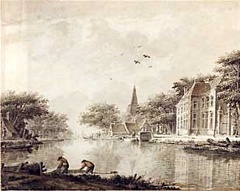a riverbank with houses and fishermen by theodor dirk verryck