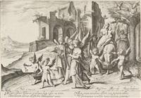 junger schäfer, die laute spielend - die rückkehr von der flucht nach ägypten (2 works) by jacques de gheyn ii