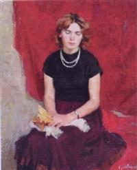 woman in black wearing a pearl necklace by leonid gershovich krivitsky
