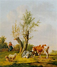 a shepherdess with sheep and cows by anthony oberman