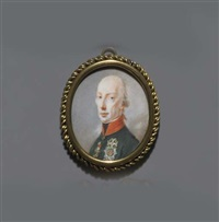 francis ii, holy roman emperor and emperor of austria as francis i, in green coat with red collar and black stock by josef kreutzinger