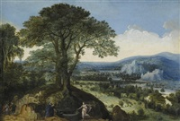 christ and the woman of samaria, an extensive landscape beyond by lucas van valkenborch
